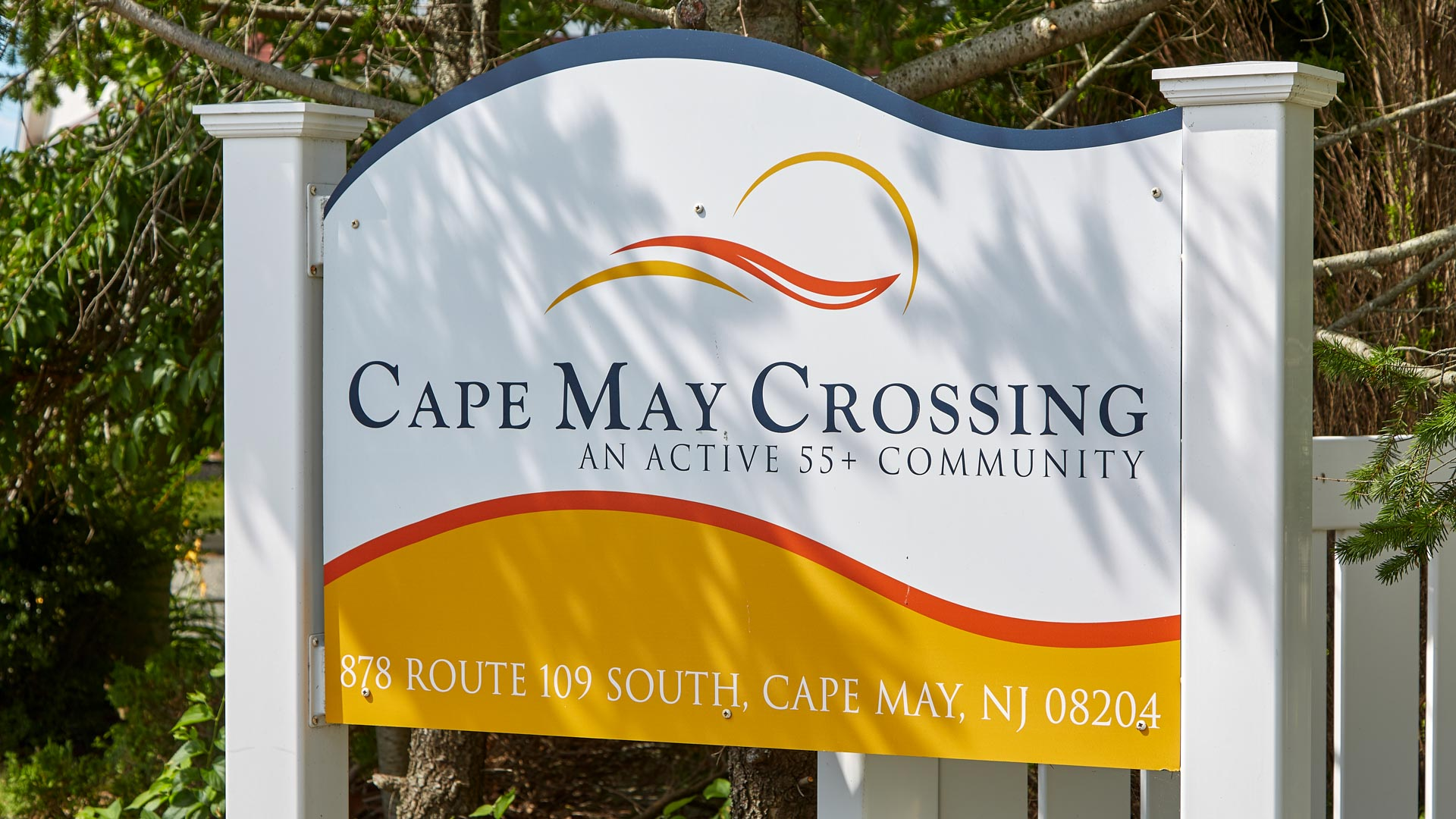 Cape May Crossing 55+ Manufactured Homes Community Entrance Sign in Cape May, NJ