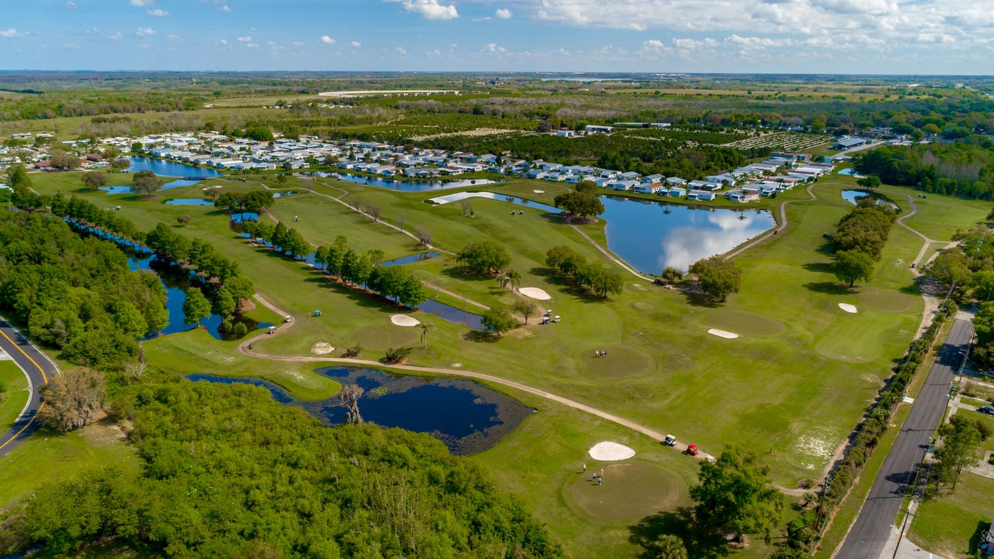Cypress Greens 55+ Manufactured Homes Community and Golf Course Aerial View in Lake Alfred, FL