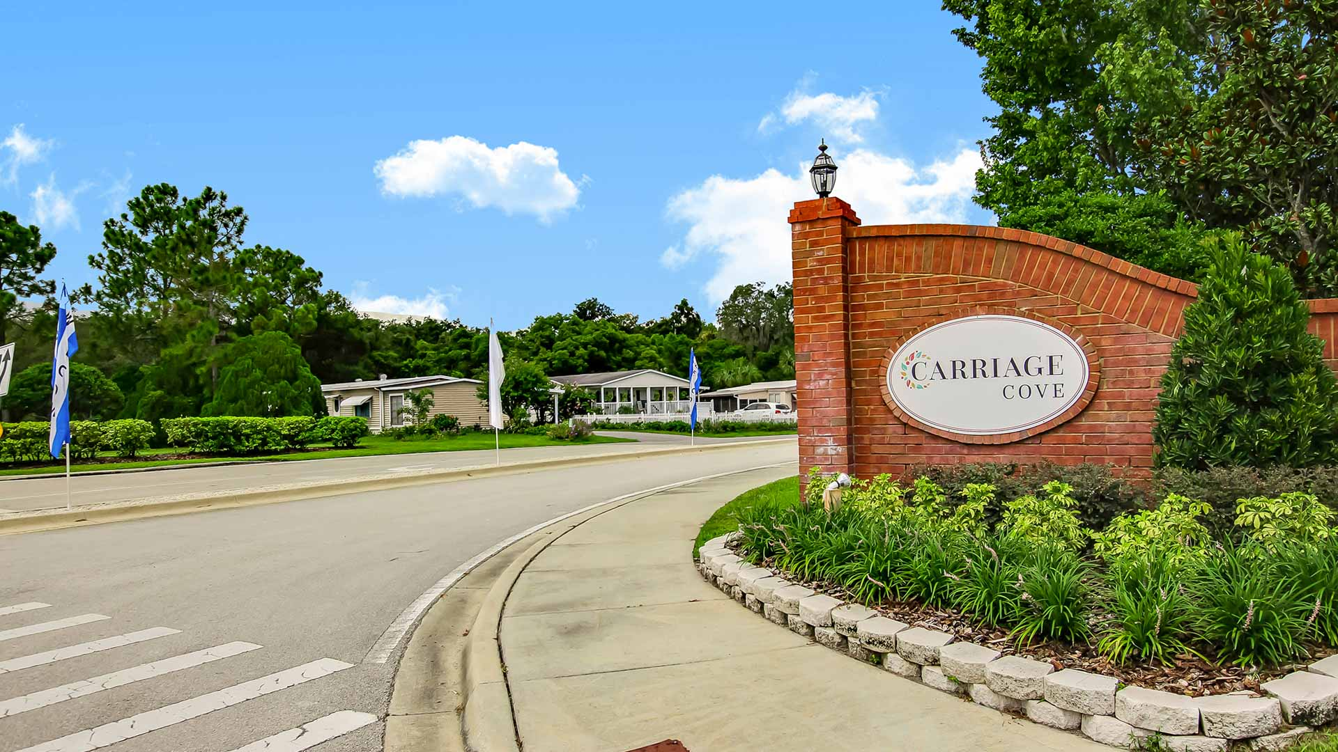 Entrance Sign at Carriage Cove Manufactured Homes Community in Sanford, FL
