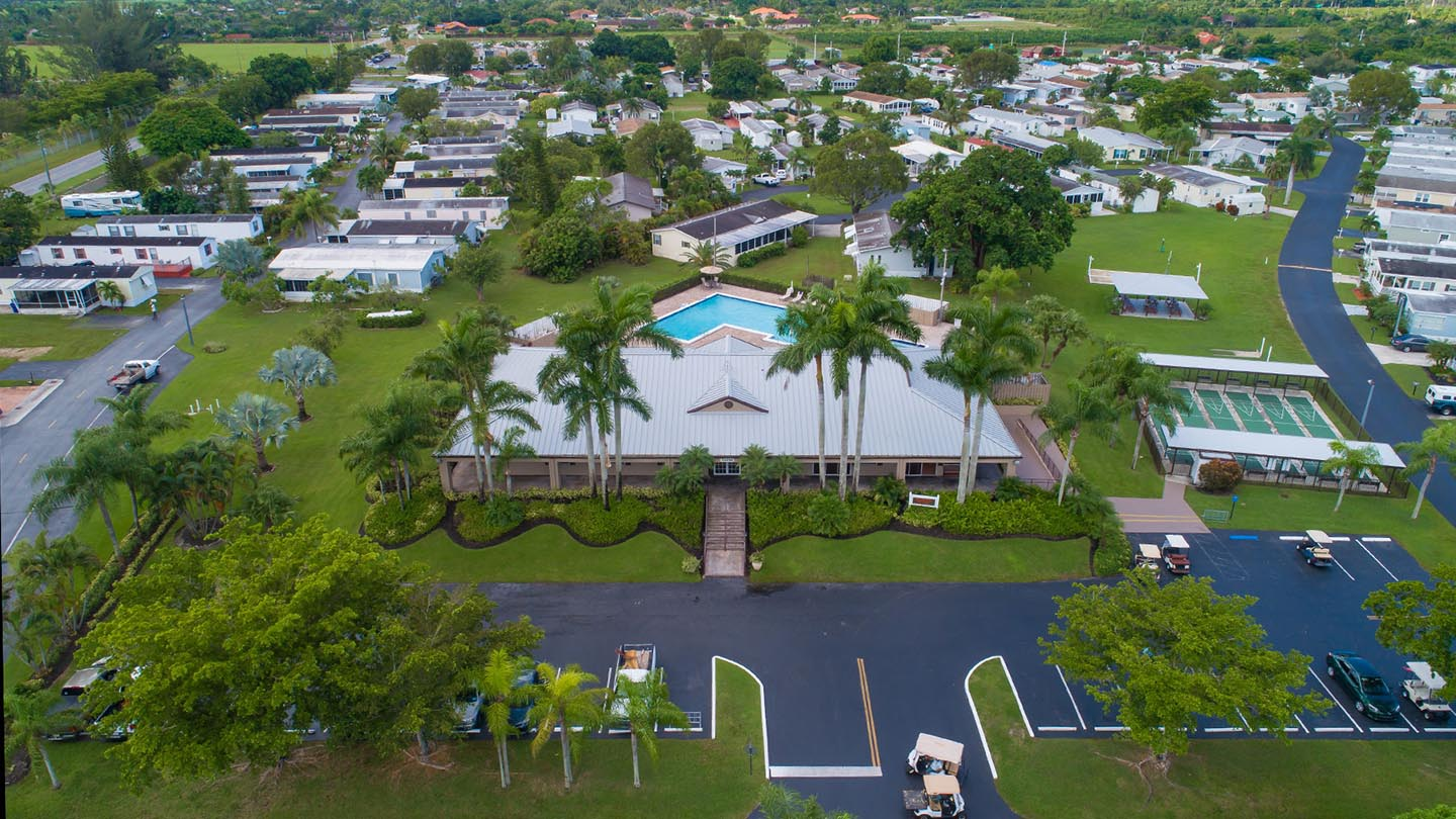 Goldcoaster Manufactured Homes Community Aerial View Entrance in Homestead, FL