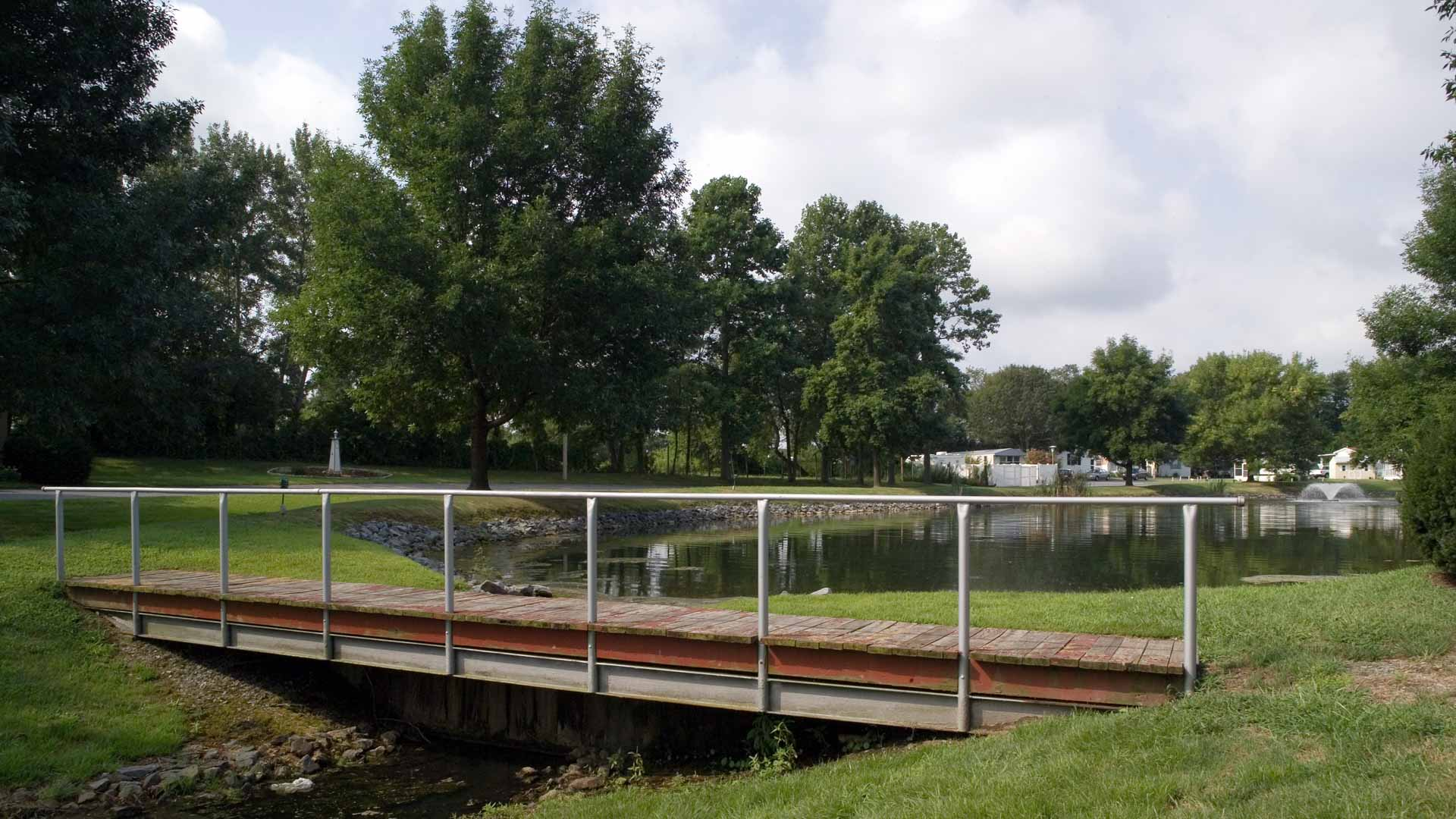 High Point Manufactured Homes Community Foot Bridge in Frederica, DE