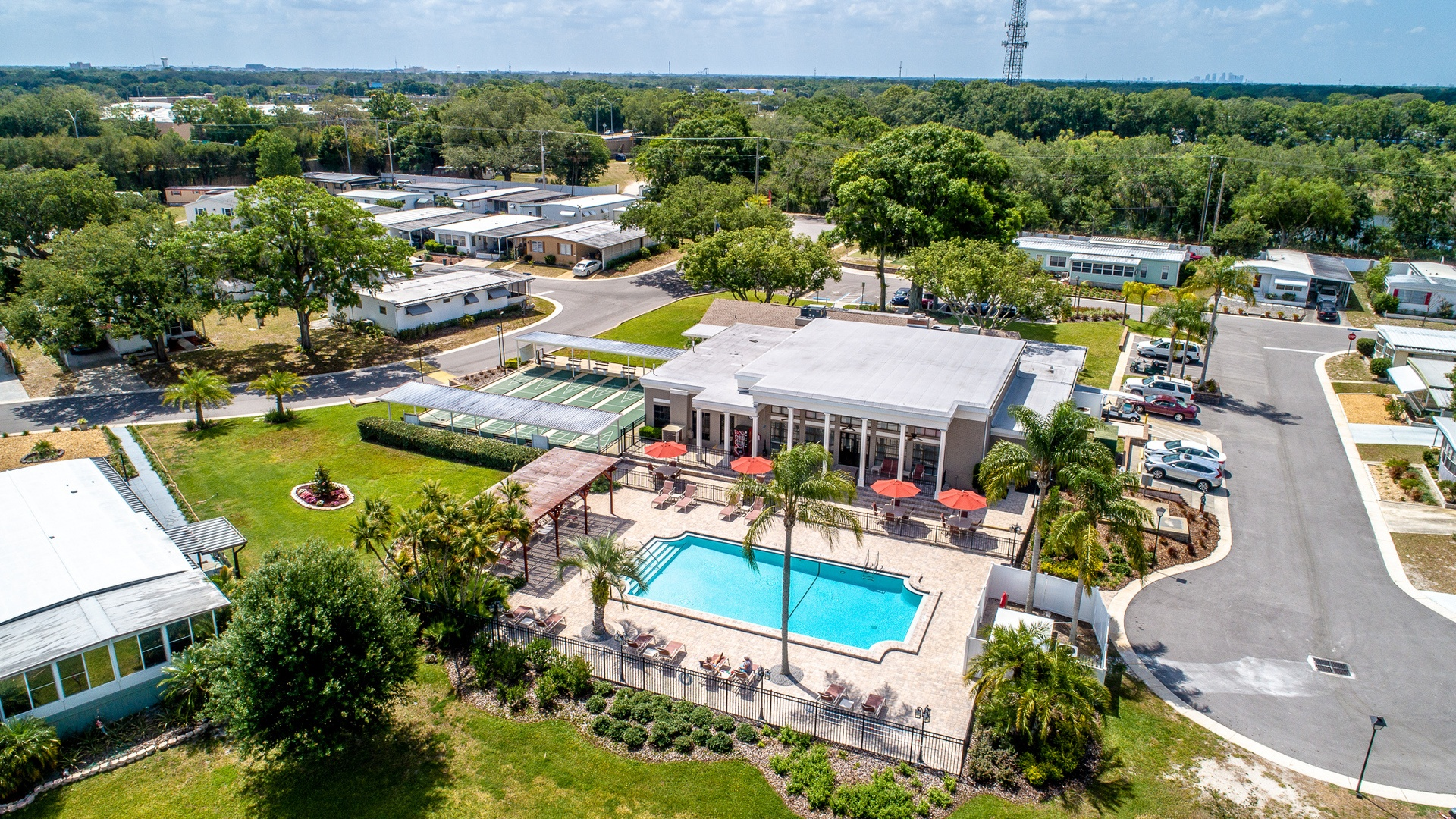 Lakeshore Villas 55+ Manufactured Homes Community Clubhouse Complex Aerial View in Tampa, FL