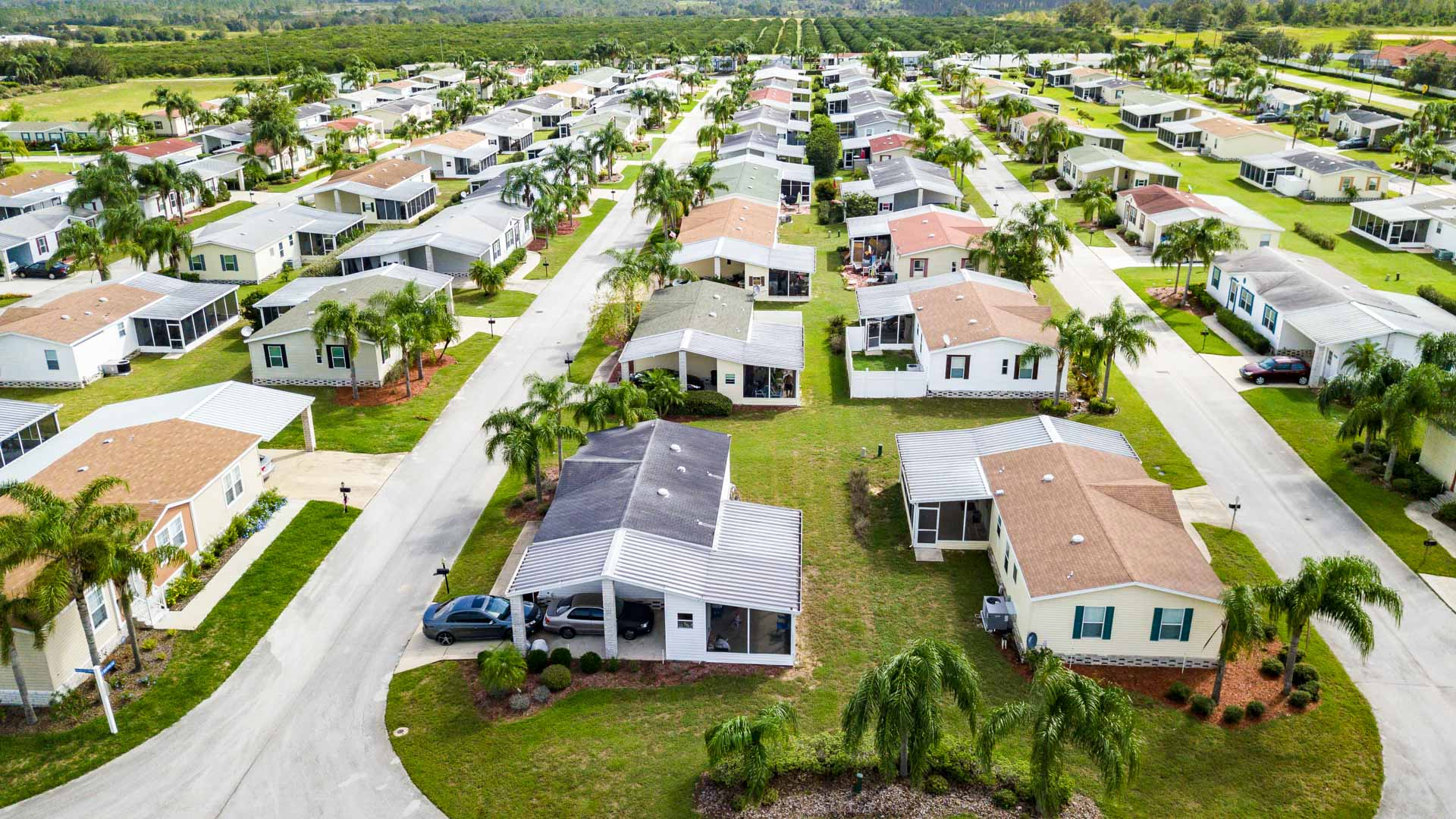 Palm Key Village Manufactured Homes Community Aerial View in Davenport, FL