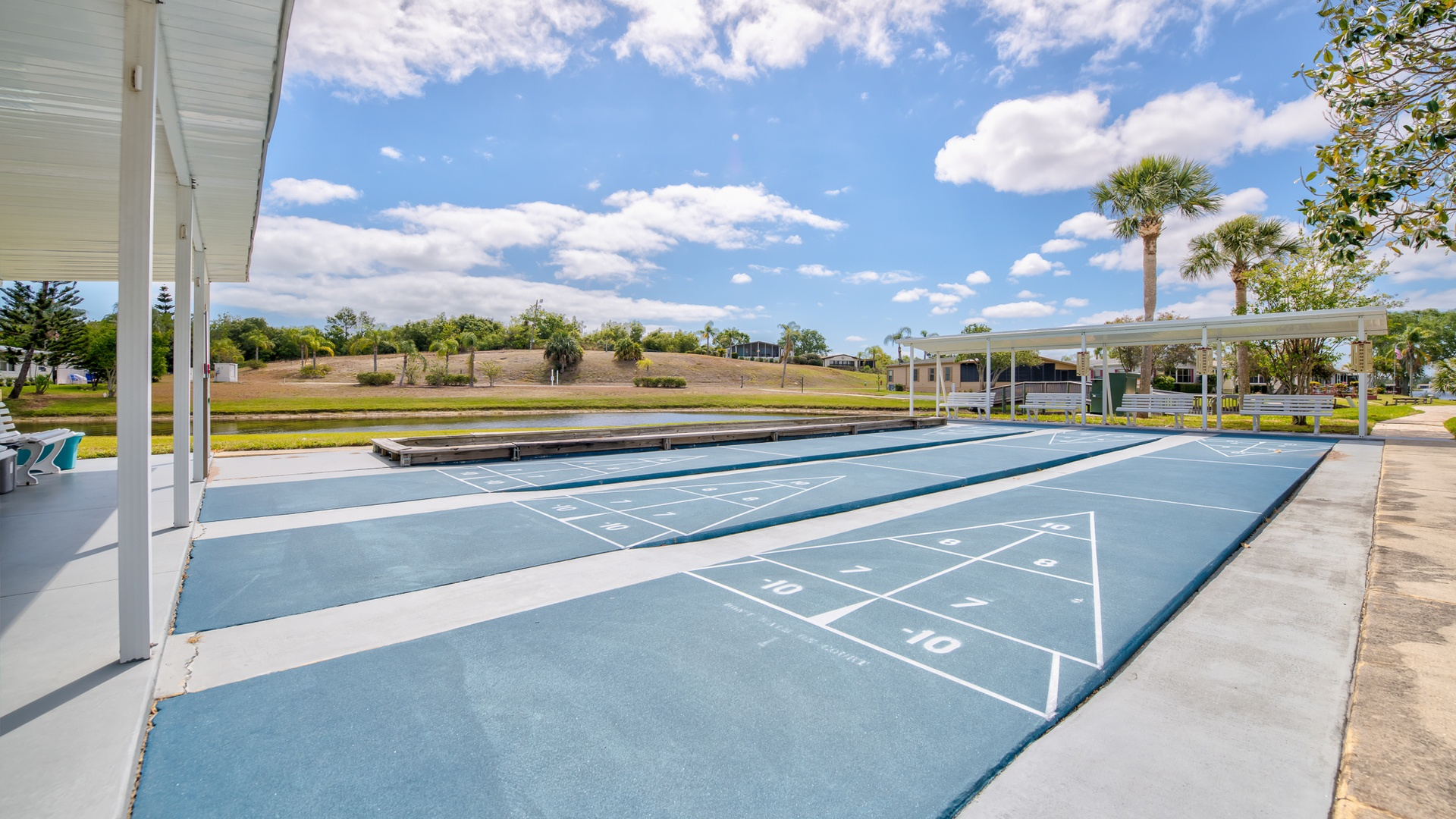 Park Place 55+ Manufactured Homes Community Shuffleboard Courts in Sebastian, FL