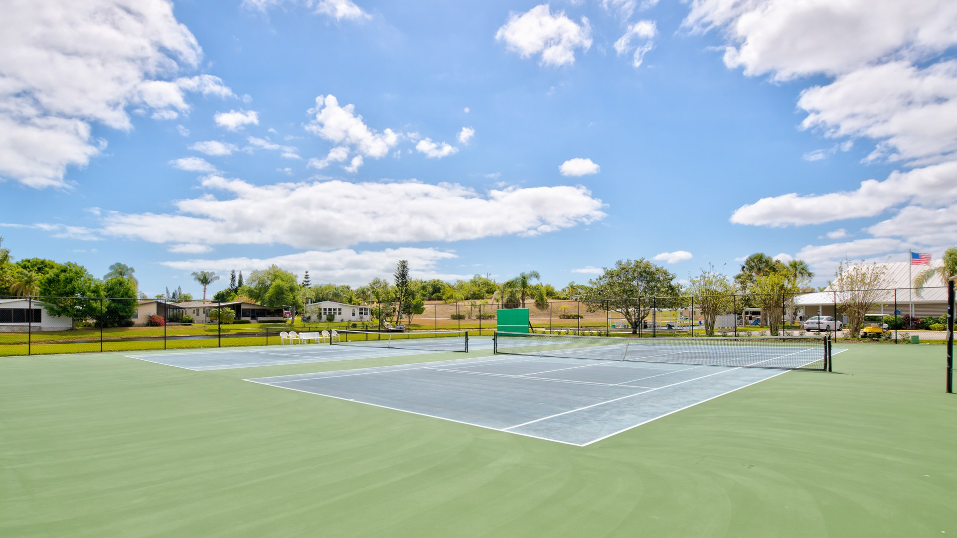 Park Place 55+ Manufactured Homes Community Tennis Courts in Sebastian, FL
