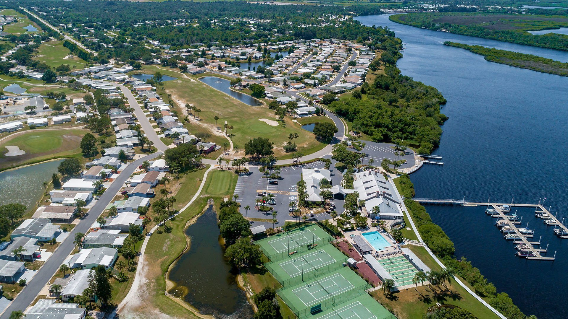 Riverside Club 55+ Golf, Marina and Manufactured Homes Community Aerial View in Ruskin, FL