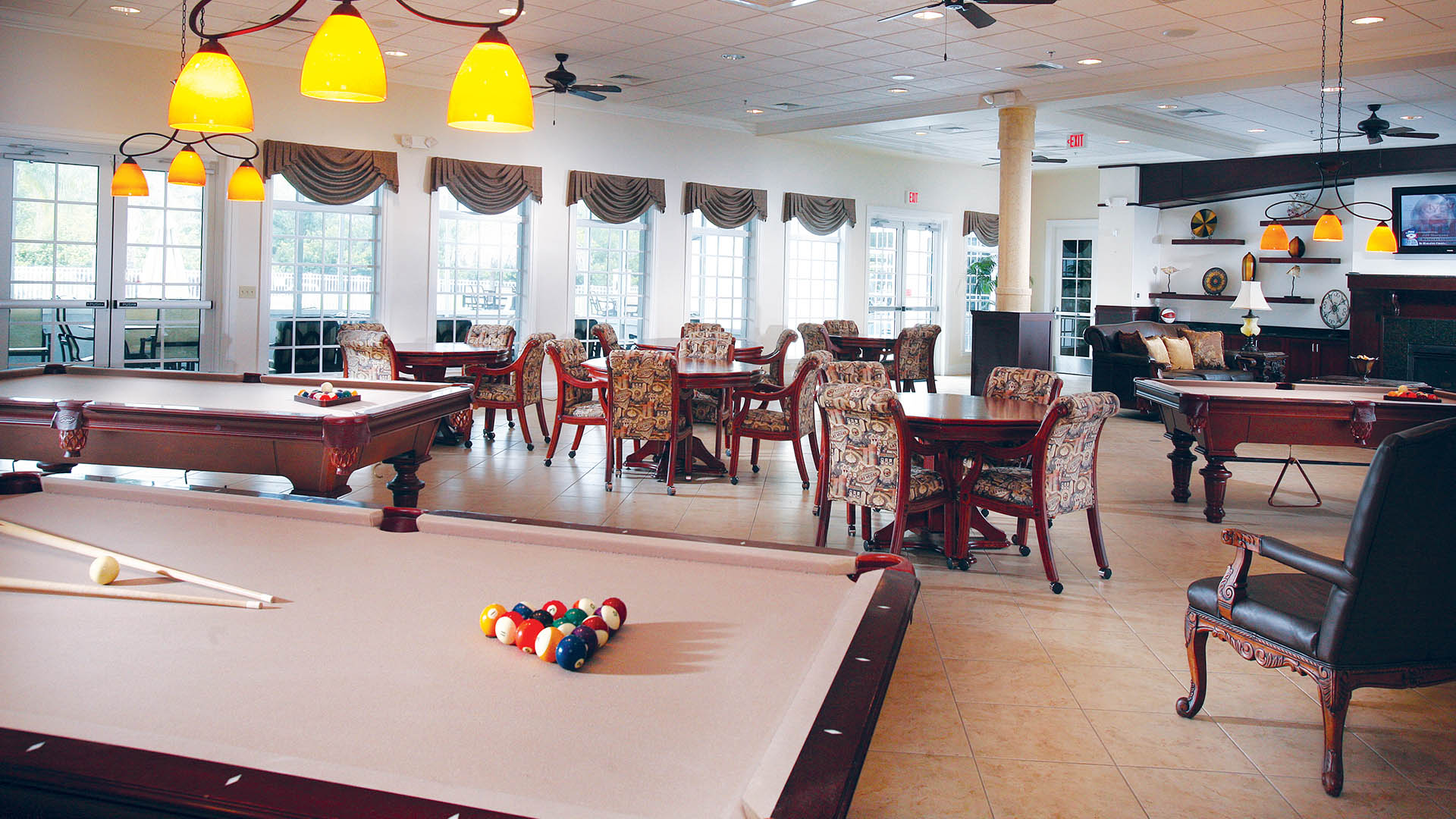 Riverside Club 55+ Golf, Marina and Manufactured Homes Community Clubhouse Interior in Ruskin, FL