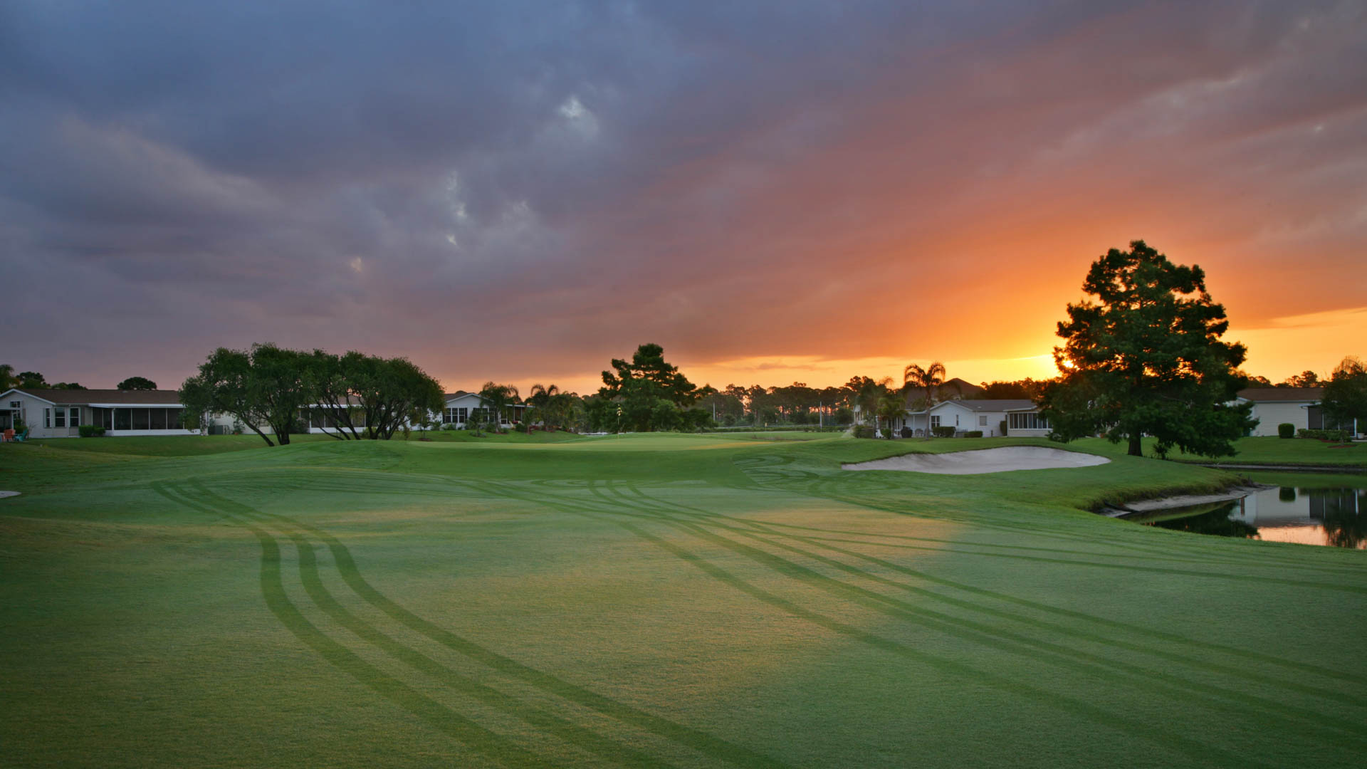 Savanna Club 55+ Manufactured Homes Community Golf Course Morning in St. Lucie, FL