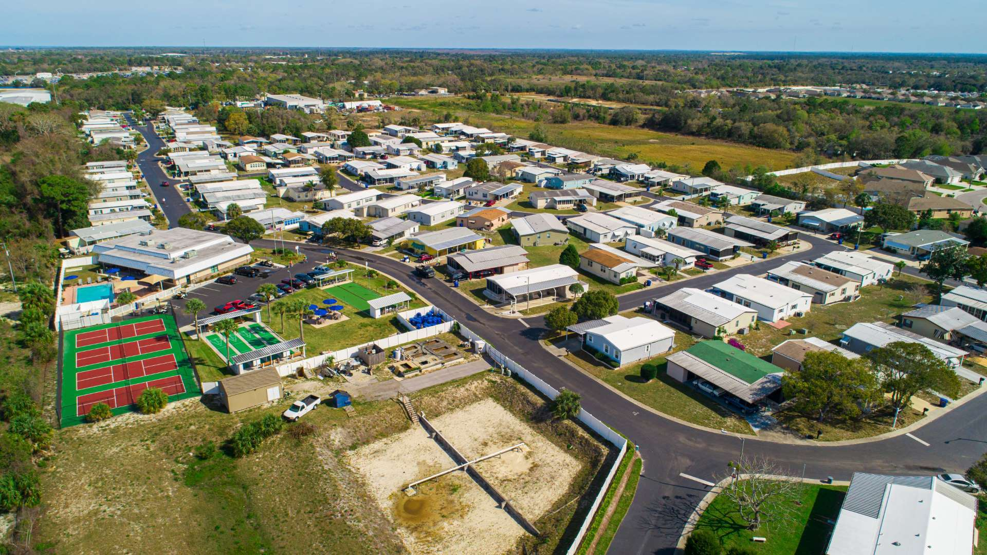 Aerial View of Shadow Wood Village 55+ Manufactured Home Community in Hudson FL