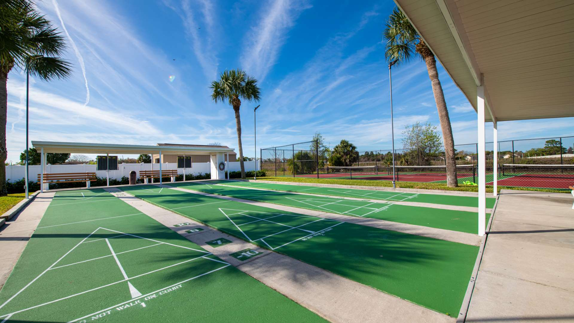 Shuffleboard Courts at Shadow Wood Village 55+ Manufactured Home Community in Hudson FL