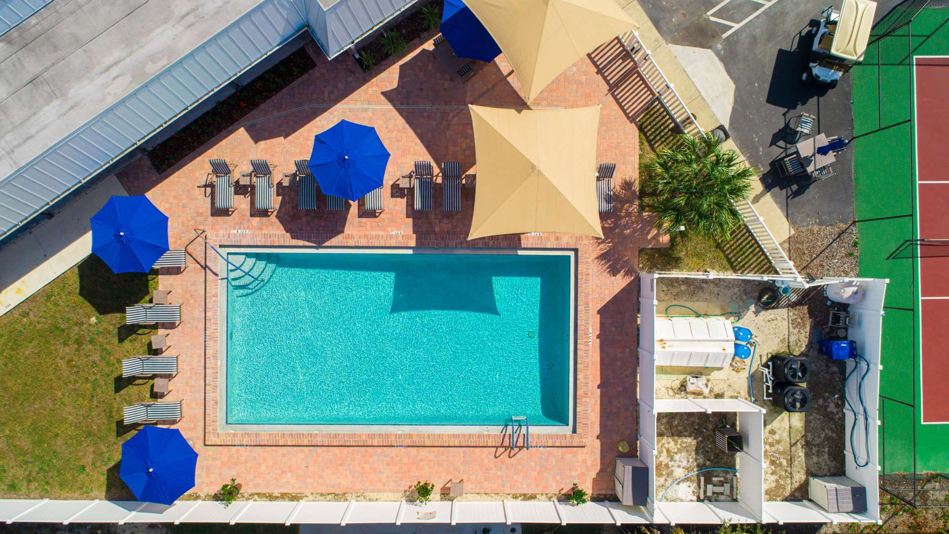 Aerial View of Swimming Pool at Shadow Wood Village 55+ Manufactured Home Community in Hudson, FL