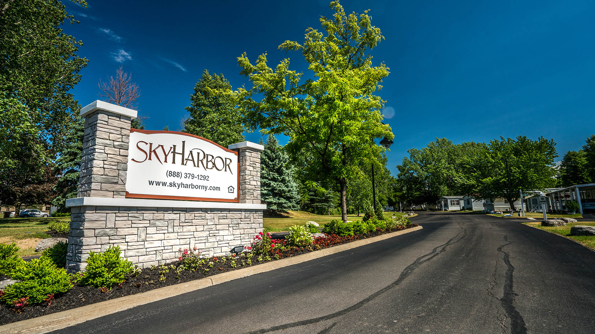 Entrance Sign at Sky Harbor Manufactured Home Community in Buffalo NY