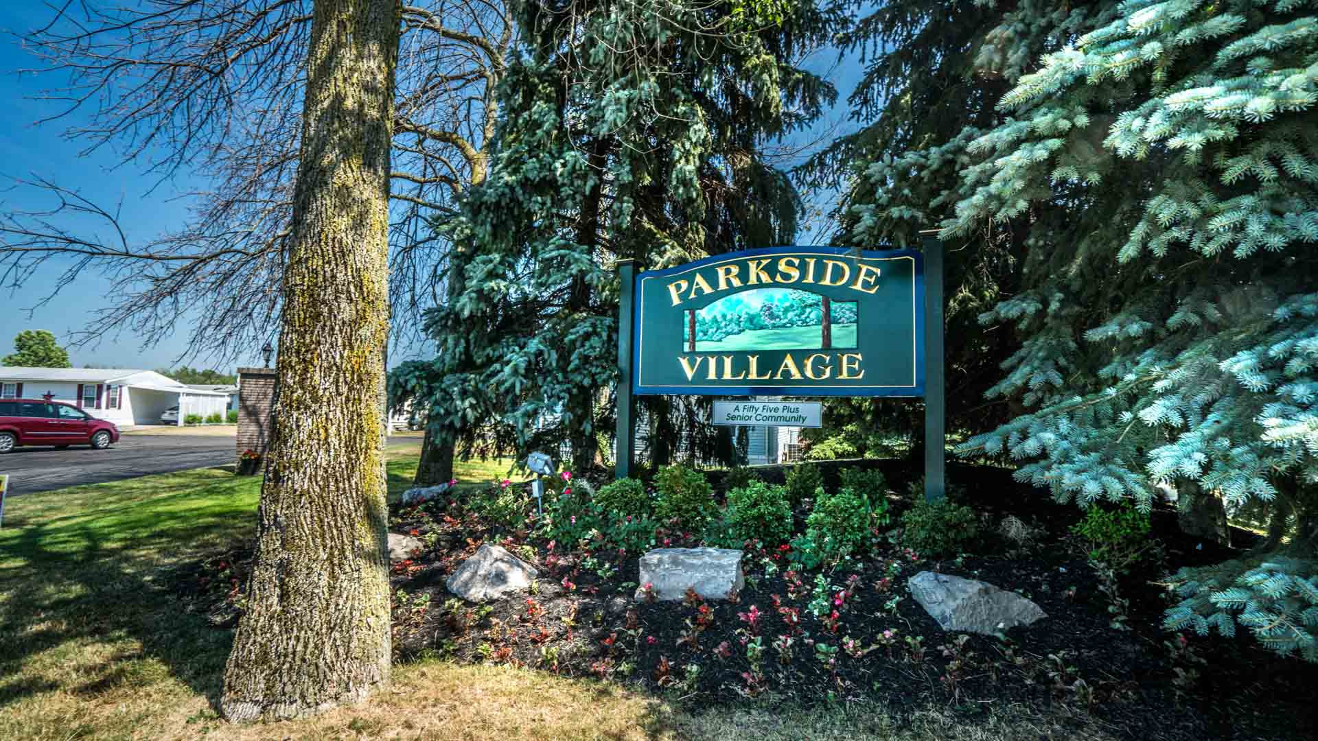 Parkside Village 55+ Manufactured Homes Community Entrance Sign in Buffalo, NY