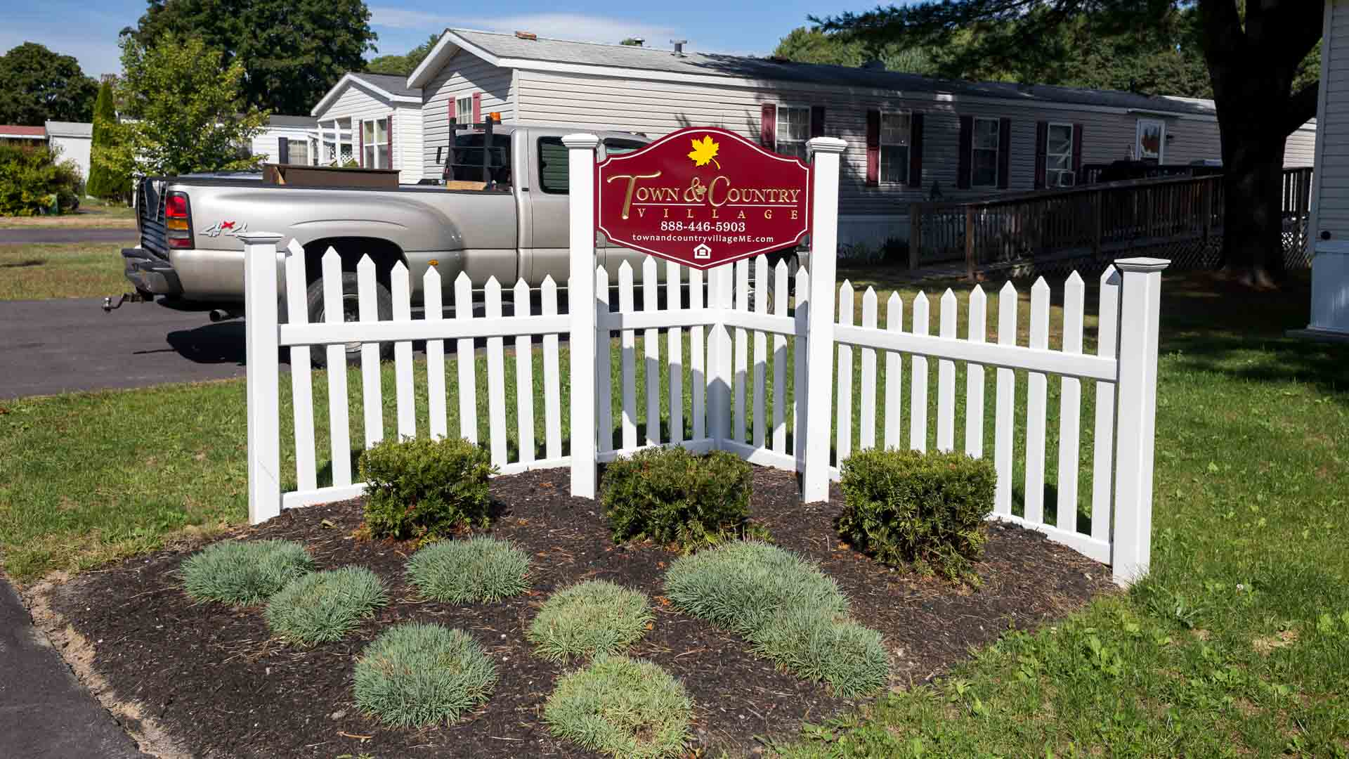 Entrance Sign to Town and Country Village Manufactured Homes in Lisbon ME
