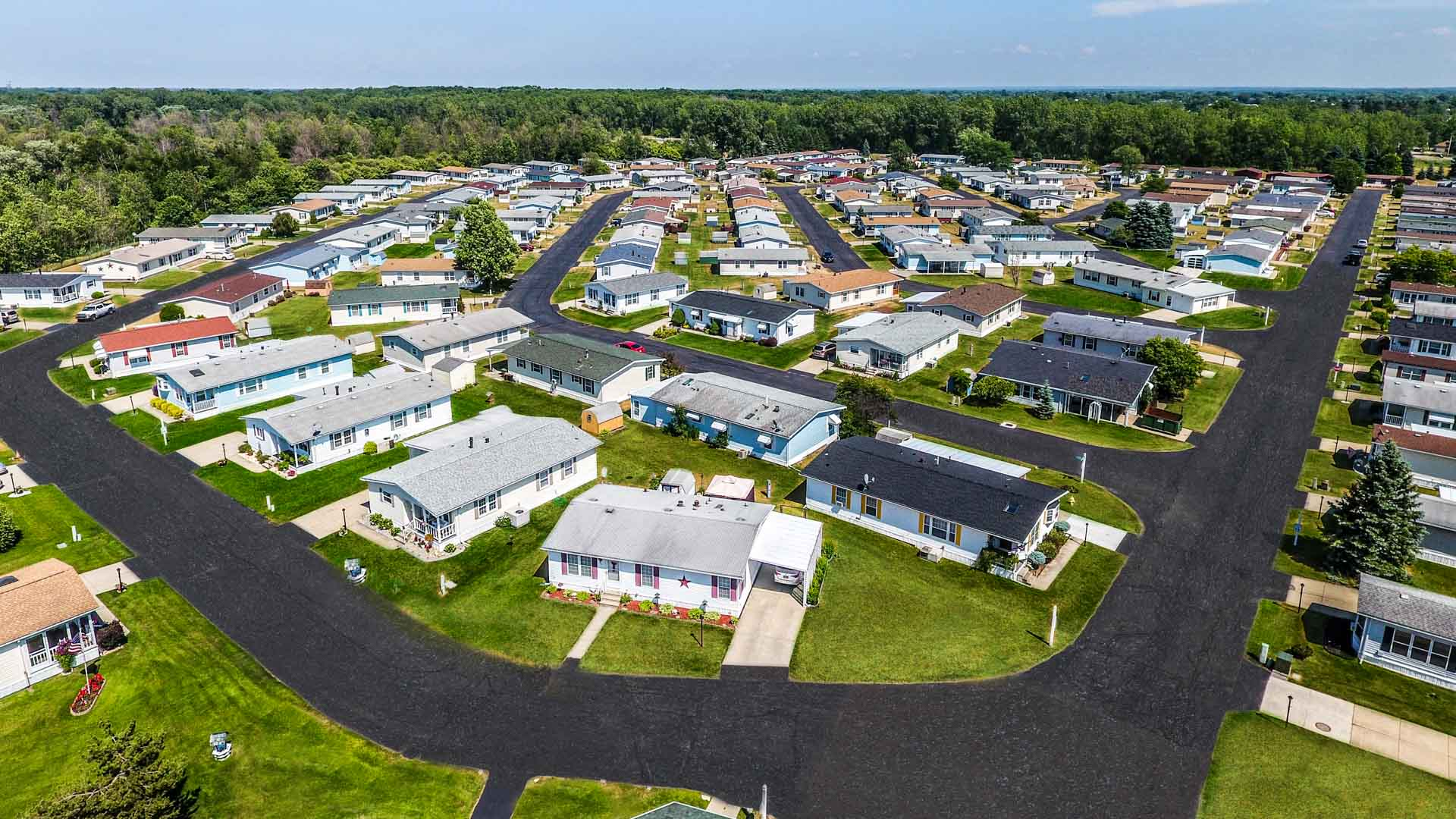 Parkside Village 55+ Manufactured Homes Community Aerial View in Buffalo, NY