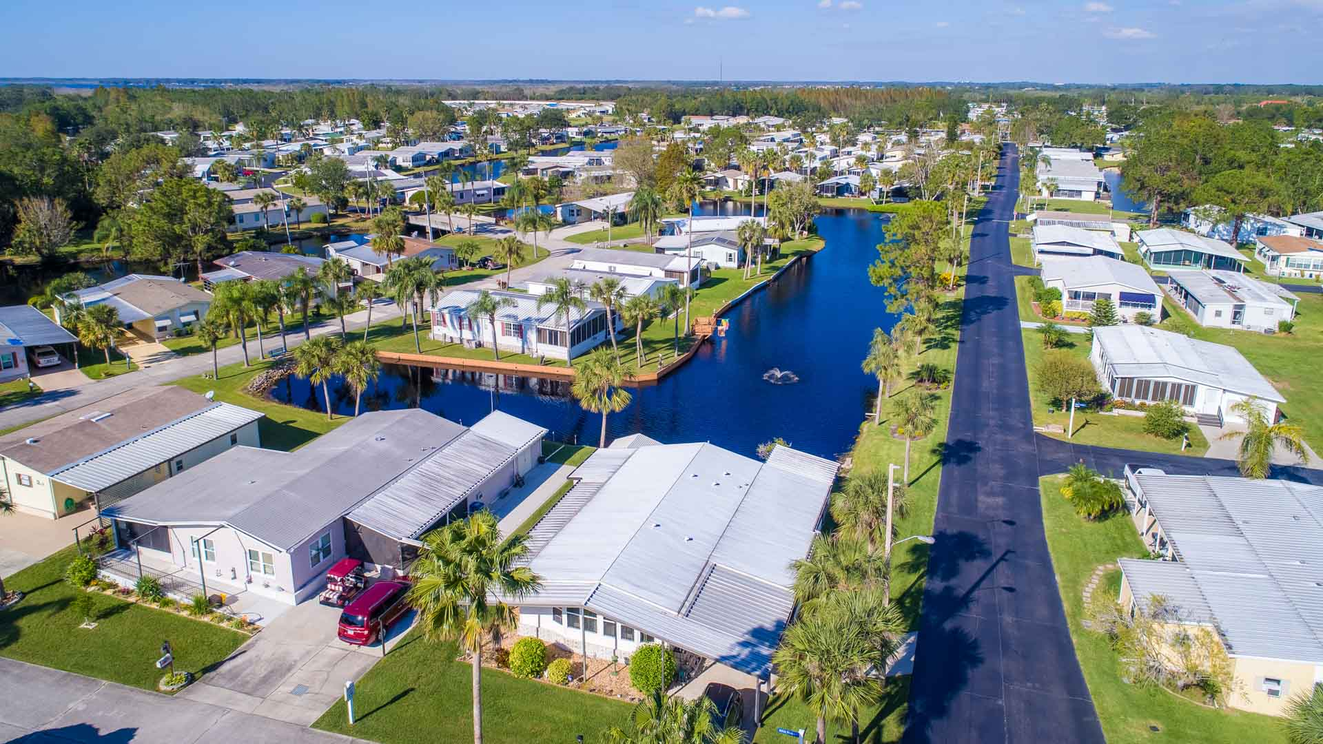 Royal Palm Village 55+ Manufactured Homes Community Aerial View in Haines City, FL