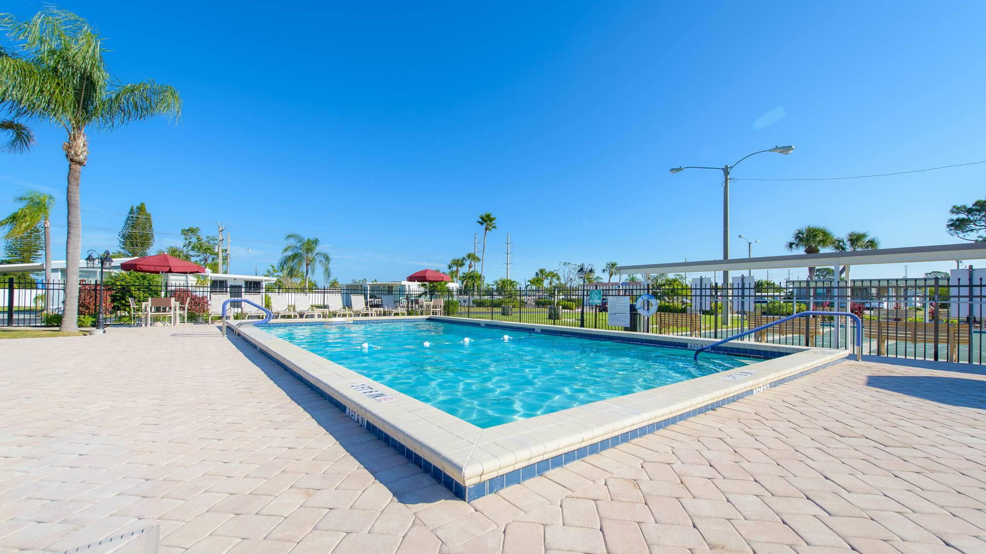 Serendipity 55+ Manufactured Homes Community Swimming Pool in Fort Myers, FL