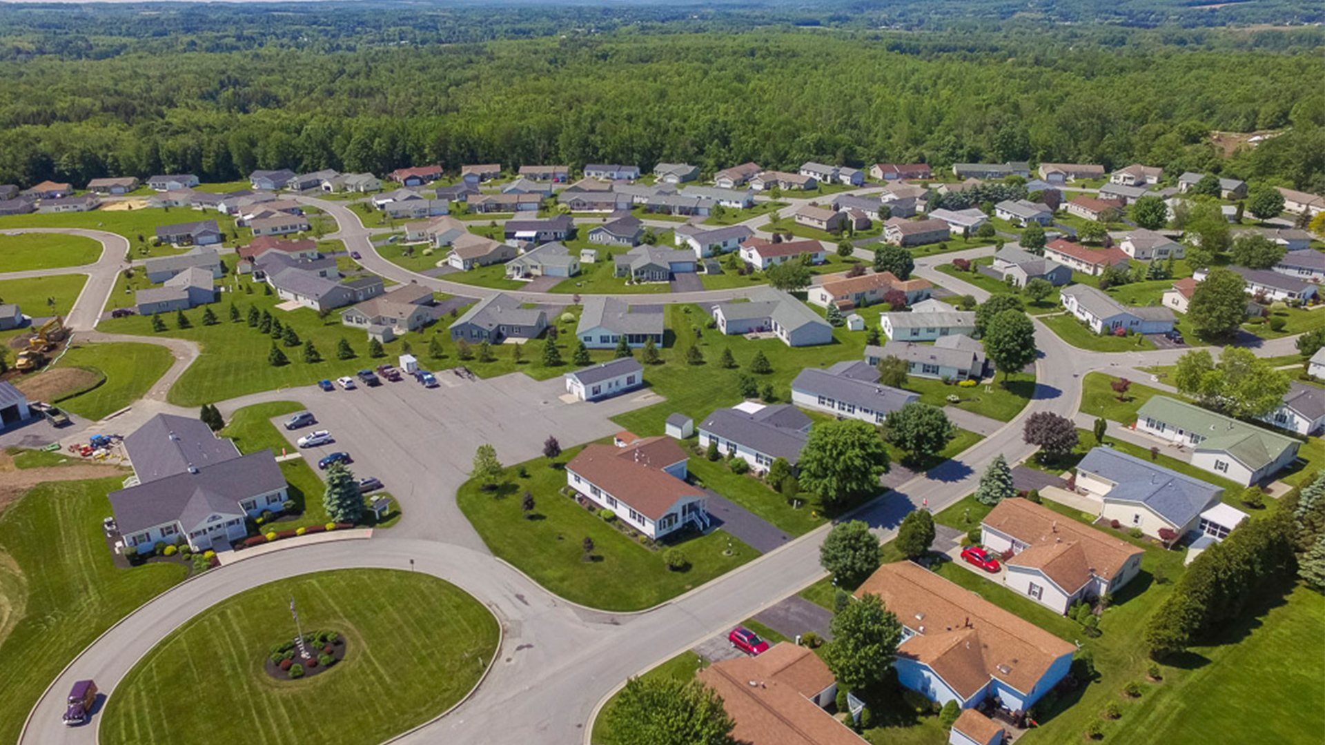 Cherrywood 55+ Manufactured Homes Community Aerial View in Clinton, NY